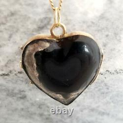 Victorian Black Enamel Heart Locket, 10k Yellow Gold and Silver, Antique Estate