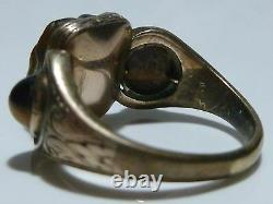 Victorian Carved Tigers Eye Bulldog Dog 10k Yellow Gold Estate Ring Size 7