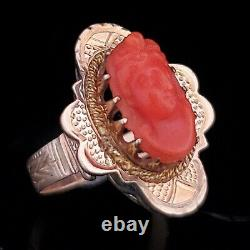 Victorian Coral Cameo 10k Yellow Gold Ring Antique Estate Jewelry Gift
