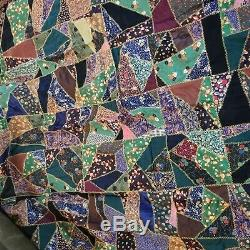 Victorian Crazy Quilt Top- 63x56 Silk Top Pieces GORGEOUS-Vintage Estate briar