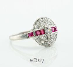 Victorian Diamond Ruby Ring Platinum Antique Estate