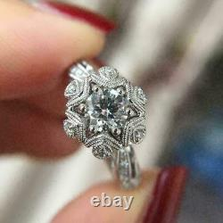 Victorian Edwardian Engagement Estate Ring 1.71 Ct Diamond 14K White Gold Over