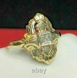 Victorian Edwardian Estate Engagement Ring 14K Yellow Gold Over 1.3 Ct Diamond