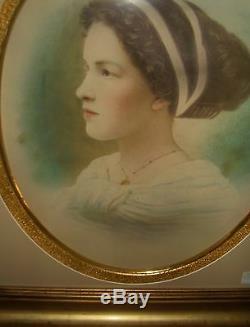 Victorian Edwardian Formal Girl Portrait Pastel Art gold Estate Antique