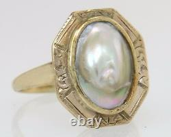 Victorian Estate 10K Yellow Gold Abalone Shell Hand Engraved Ring Size 6.5