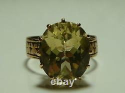 Victorian Estate 10k Yellow Gold Lemon Quartz Crystal Glass Ring Band Size 6