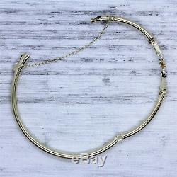Victorian Estate 14K Gold Diamond Hinged Bangle Bracelet Antique Luxury 6.5