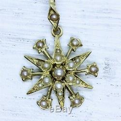 Victorian Estate 15K Gold Split Pearl Star Celestial Pendant Antique Luxury