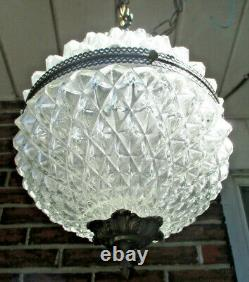 Victorian Estate Large Clear Glass Chunky Diamond Brass Pendant Light Excellent