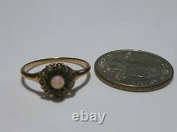 Victorian Estate Womens 10k Gold Opal & Pearl Ring Band Size 7.65