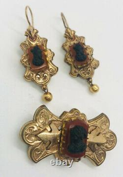 Victorian Gold Filled Cameo Brooch & Earrings Demi/Set Vintage Antique Jewelry