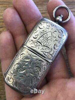 Victorian MATCH SAFE & COIN SAFE Sterling Silver ENGRAVED Estate Find BEAUTY