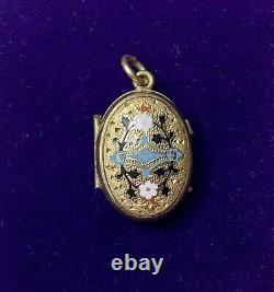 Victorian Mourning Locket, Enamel and Gold Fill, Pendant Fob, Antique Jewelry