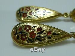 Victorian Nouveau 14k Yellow Gold Enamel Flower Floral Antique Estate Earrings