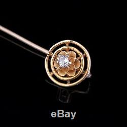 Victorian Old Mine Cut Diamond 14k Yellow Gold Stick Pin Antique Gift Estate