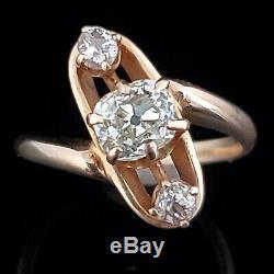 Victorian Old Mine Cut Diamond 14k Yellow Gold Three Stone Ring Antique Estate