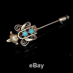 Victorian Opal 14k Yellow Gold Stick Pin Antique Estate Floral Majestic c1800s
