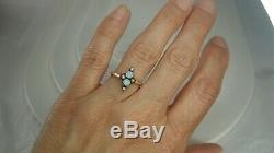 Victorian Opal Seed Pearl Ring size 7.25 Yellow Gold Estate Fine Antique Jewelry