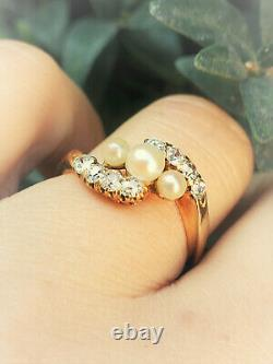 Victorian PEARL OLD MINE CUT DIAMOND 15K Bypass RING Antique Engagement Estate