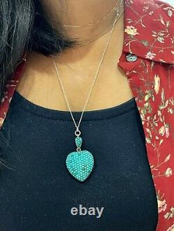 Victorian Pave Turquoise Heart Locket Pendant Antique Persian Turquoise Silver