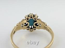 Victorian Persian Turquoise Pearl Ring 10k Gold size 9