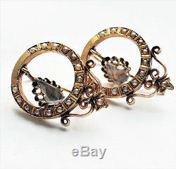 Victorian ROSE CUT DIAMOND Seed Pearl 14K Leverback Hoop EARRINGS Antique Estate