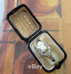 Victorian Ring Box Leather Velvet Silk Antique Presentation Box Estate English