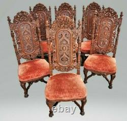 Victorian Set of 6 American Renaissance Revival Carved Oak Dining Chairs