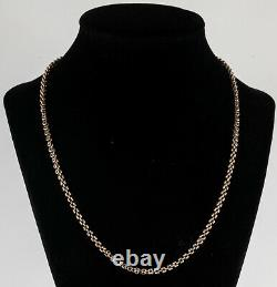 Victorian Solid 14K Gold Chain with Taille d'epargné Enamel Clasp
