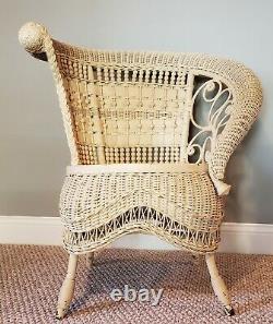 Victorian Wicker Rolled Arm Portrait Chair, Estate, VGC