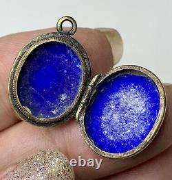 Victorian enamel Buckle Locket, Gold Fill Pendant. Antique Mourning Jewelry