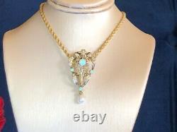 Victorian heart Antique Estate Vintage Solid Australian Opal 14K Gold Pendant