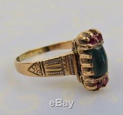 Victorian rose gold ruby bloodstone antique estate ring size 7