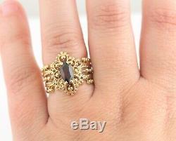 Vintage 10K Garnet Ring Gold Victorian Style Ornate Estate Antique Art Deco
