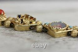 Vintage 14 K Gold Slide Bracelet Coral Moonstone Snake Big Victorian Style 7