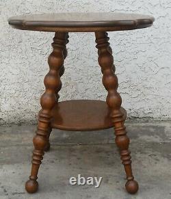 Vintage Antique American Quarter Sawn / Tiger Oak Lamp Side Table LA Area