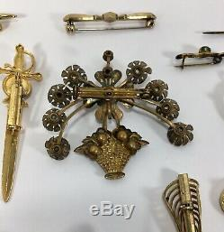 Vintage Antique Brooch Pin Art Deco Victorian Austrian Estate Lot Of 38 Pieces