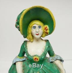 Vintage Antique Cast Iron Victorian Lady Woman Door Stop Hand Painted 10 ESTATE