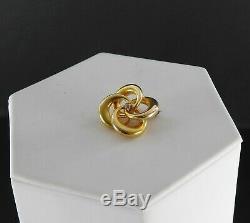Vintage Antique Victorian 14K Yellow Gold Diamond Brooch Pin Love Knot Estate