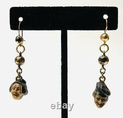 Vintage Antique Victorian Gold Filled Glass Heads People Husband Wife Earrings