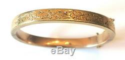 Vintage Estate Antique Victorian Solid 14K Gold Filigree Hinged Bracelet 11.25g