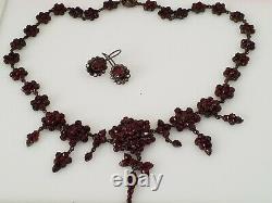 Vintage Estate Find 1800s Victorian Bohemian Garnet Flowers Necklace & earrings