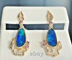 Vintage Estate Long 5c Natural Australian Black Opal Earrings Floral Blue Green