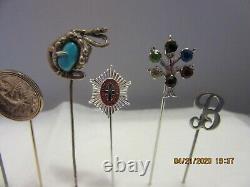 Vintage Estate Sterling Turquoise Antique Victorian Stick Hat Pin Lot Indian