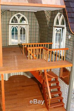 Vintage Kids Dollhouse Old Estate Wood 2 Story Beautifully Made great condition