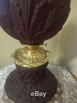 Vintage Ruby Red Satin Banquet Oil Lamp GWTW Consolidated STUNNING! Estate Find