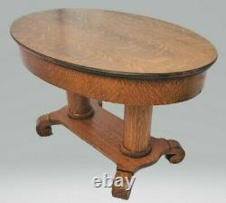 Vintage Victorian American Tiger Oak Oval Coffee Table Circa 1900's