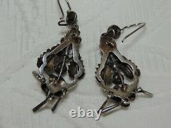 Vintage Victorian Sterling Birds Nest Earrings Glass Turquoise Coral Stone Pearl