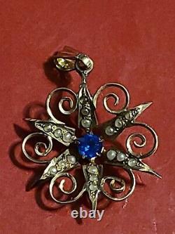 Vintage estate Antique Victorian Culture Pearl 14k Yellow Gold STAR SUN Pendant