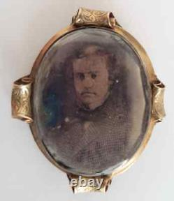 Vtg Antique Victorian Gold Ambrotype Photo Woven Hair Mourning Pendant Locket